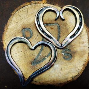 Forged Horseshoe Hearts